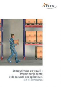 Illustration - un travailleur portant un exosquelette transporte une boîte